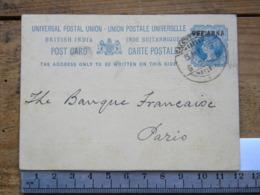 Entier Postal - Inde Britanique - Calcutta Pour Paris - 5/05/1903 - Covers & Documents