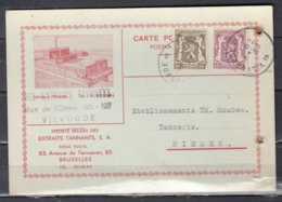 Postkaart Van Vilvoorde D Naar Nismes Société Belges De Extraits Tannants - 1935-1949 Petit Sceau De L'Etat