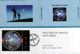 "CROACIA / CROATIA /HRVATSKA  - EUROPA 2009  - TEMA  ""ASTRONOMIA"" - CARNET De La SERIE De 2 V.- DENTADA - TIPO B - Europa-CEPT"