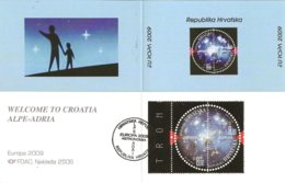"CROACIA / CROATIA /HRVATSKA - EUROPA 2009  - TEMA  ""ASTRONOMIA"" - CARNET De La SERIE De 2 V.  -DENTADA- TIPO A - Europa-CEPT"