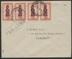 """CONGO BELGE """"KINGU PORT EMPAIN"""" Obl. Cachet à Date Sur N° 287. Sur Enveloppe Par Avion Pour La France. - 1947-60: Storia Postale"""