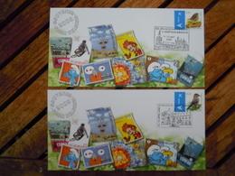 OCB Nr 3749/50 Buzin Fauna Kaart Carte Koblenz + 's Hertogenbosch - 1985-.. Oiseaux (Buzin)