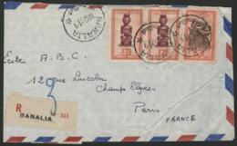 """CONGO BELGE """"BANALIA"""" Recommandé / Obl. Cachet à Date Sur N° 287 (x2) + 293. Sur Enveloppe Par Avion Pour La France. - Belgian Congo"""