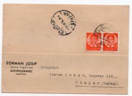 1938 YUGOSLAVIA, SLOVENIA, TPO CELJE-PREVALJE NO 86, CORRESPONDENCE CARD, ZORMAN , SLOVENJ GRADEC TO STAPAR - 1931-1941 Kingdom Of Yugoslavia