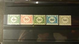 """Belgique - Timbres De L'occupation: Timbres Taxe 1919 Avec Surcharge """"Eupen""""  . Numéro OC101/05 état Charnière - Guerra 14 – 18"""