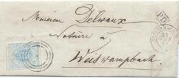 Brief - Mi 6 - Grevenmacher 21 Avr 1864 Nach Weiswampach (geprüft F.S.P.L.) - 1859-1880 Armoiries