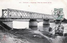 Indochine, TONKIN, Haiphong, Pont Du Chemin De Fer, Gelaufen 1912, Orig.Marke Mit Stempel Vorderseitig - Vietnam