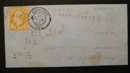 Aveyron.Lettre (De Gabriac).Petit Chiffre 1197 D'Espalion.Boite Rurale B - 1849-1876: Période Classique