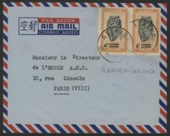"RUANDA URUNDI ""ASTRIDA"" Obl. Cachet à Date Sur N° 174 (x2). Sur Enveloppe Par Avion Pour La France. - Ruanda-Urundi"