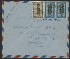 """RUANDA URUNDI """"KITEGA"""" Obl. Cachet à Date Sur N° 159 + 166 (x2). Sur Enveloppe Par Avion Pour La France. - Ruanda-Urundi"""