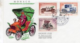 Monaco  -  'Retrospective Automobile  -  Fiat-Chevrolet-Peugeot  -  3v Premier Jour Enveloppe   -  FDC - Voitures