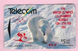 New Zealand - Private Overprint - 1994 Lillehammer Winter Olympics $5 - VFU - NZ-PO-41 - Nouvelle-Zélande
