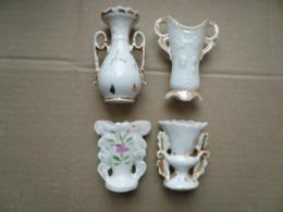 Lot De 4 Petits Vases De Mariée En Porcelaine De Paris - Fin XIXème - - Other