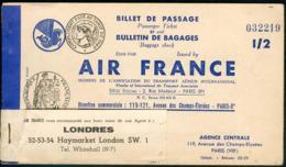 BILLET 1948 AVION AVIATION AIR FRANCE AIRLINE PARIS LONDRES - Europe