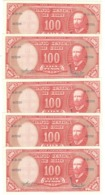 Chile 10 Centesimos On 100 Pesos. P-127a X 5. UNC - Chili