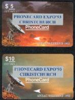 New Zealand - Private Overprint - 1993 Phonecard Expo'93, Christchurch Set (2) - VFU - NZ-PO-21 - New Zealand