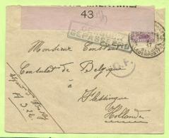 140 Op Brief PMB 4 -> Vlissingen (Holland) Strookje CENSURE MILITAIRE 43 (ROSE !!) + C.F.(Folkestone) (K5293) - Army: Belgium