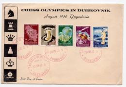 20.08.1950. YUGOSLAVIA, CROATIA, DUBROVNIK CHESS  OLYMPICS, SPECIAL COVER, SPECIAL CANCELLATION - 1945-1992 Socialist Federal Republic Of Yugoslavia