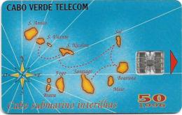 Cabo Verde - Cabo Verde Telecom - Map Of Cape Verde, 50U, 09.1996, 145.000ex, Used - Capo Verde