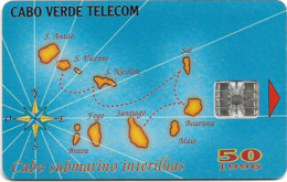 Cabo Verde - Cabo Verde Telecom - Map Of Cape Verde, 50U, 09.1996, 145.000ex, Used - Cap Vert