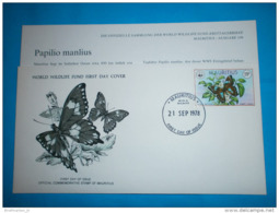 MAURITIUS WWF FDC + Karte Tiere - 463 Schmetterlinge Papilio Manlius (Scan)(70873) AG - Mauritius (1968-...)