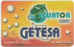Equatorial Guinea - GETESA - Tarjeta De Abono (Yellow), GSM Refill, 10.000FCFA, Used - Equatoriaal Guinea