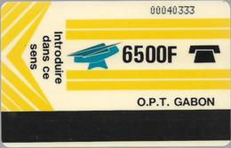 Gabon - OPT (Autelca Magnetic) - Avec Un Compte (Text On Back) - 6.500FCFA, Used - Gabun