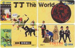 CHINA D-872 Prepaid ChinaTietong - Comics, Tintin (puzzle) - 4 Pieces - Used - China