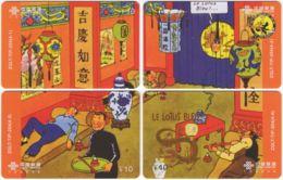 CHINA D-876 Prepaid ChinaUnicom - Comics, Tintin (puzzle) - 4 Pieces - Used - China