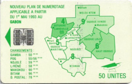 Gabon - OPT (Chip) - Map Of Gabon (Green) - 50Units, SC7, No Moreno, Green Schl. Logo, Cn. 591xxxxx Embossed Red, Used - Gabon