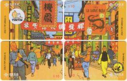 CHINA D-884 Prepaid ChinaUnicom - Comics, Tintin (puzzle) - 4 Pieces - Used - China