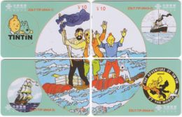 CHINA D-888 Prepaid ChinaUnicom - Comics, Tintin (puzzle) - 4 Pieces - Used - China