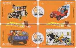 CHINA D-892 Prepaid ChinaUnicom - Comics, Tintin (puzzle) - 4 Pieces - Used - China