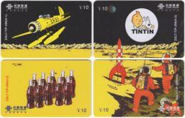 CHINA D-896 Prepaid ChinaUnicom - Comics, Tintin (puzzle) - 4 Pieces - Used - China
