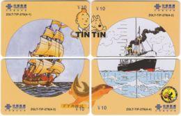 CHINA D-908 Prepaid ChinaUnicom - Comics, Tintin (puzzle) - 4 Pieces - Used - China