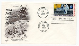 20.07.1969 USA, SPECIAL COVER, MAN'S FIRST LANDING ON THE MOON,  ARMSTRONG, COLLINS AND ALDRIN, SPECIAL CANCELLATION - Estados Unidos