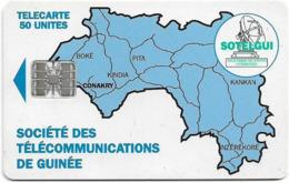 Guinea - Sotelgui - Map Of Guinea (Blue), SC7, Cn. C551xxxxx, 50Units, Used - Guinée