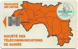 Guinea - Sotelgui - Map Of Guinea (Orange), SC7, C551xxxxx., With Moreno Logo, 150Units, Used - Guinée