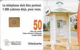 Ivory Coast - CI-Telcom - Telephone Box, Gem1B Not Symmetric White/Gold, 50Units, Used - Ivoorkust
