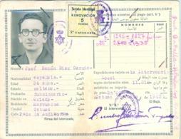 1944 , MARRUECOS - PROTECTORADO ESPAÑOL , TARJETA DE IDENTIDAD , TETUAN , TIMBRES Y SELLOS , RARO - Documentos Históricos