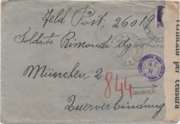 Imperiale Cent. 50 Su Busta Con Annullo Molinella (Bologna) 12.12.1944 Verificato Per Censura E Timbri Censura Militare - 1900-44 Vittorio Emanuele III