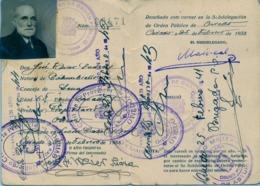 1938 , ASTURIAS , ORDEN PÚBLICO , CARNET DE IDENTIDAD , DIVERSAS MARCAS Y VALIDACIONES , INTERESANTE Y RARO - Documentos Históricos