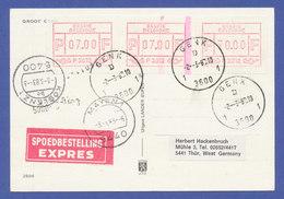 Belgien FRAMA-ENDSTREIFEN-ATM P 3012 Auf Express-Postkarte Genk. SEHR SELTEN ! - Postage Labels