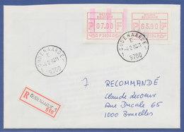 Belgien, FRAMA-ATM P3024, Schöne ENDSTREIFEN-Anfangs-ATM Auf R-Brief.  - Postage Labels