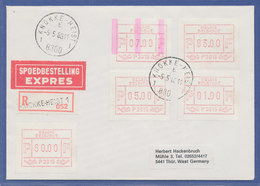 Belgien, FRAMA-ATM P3015, Schöne ENDSTREIFEN-Anfangs-ATM Auf R-Express-Brief.  - Postage Labels