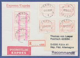 Belgien,  FRAMA-ATM P3011, ENDSTREIFEN-Anfang über 2 ATM Auf R-Express-Brief.  - Postage Labels