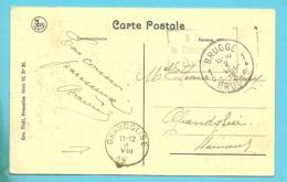 "Kaart Met Stempel BRUGGE 2/8/19 Stempel "" 6 Reg. Dechasseurs A Pied Etat Belge"" - Postmark Collection"
