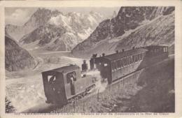 74 CHAMONIX MONT BLANC TRAIN A CREMAILLERE DU MONTENVERS GLACIER DE LA MER DE GLACE  EDITEUR MORAND 682 - Chamonix-Mont-Blanc