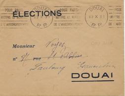 DOUAI KRAG 1931 DREYFUSS (DOU101) 1994 NON COTE EN Port Payé Numéro De L'arrondissement Tarif ELECTIONS - Storia Postale