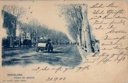 1902 BARCELONA, TARJETA POSTAL  CIRCULADA , PASEO DE GRACIA , HAUSER Y MENET Nº 250 - Barcelona
